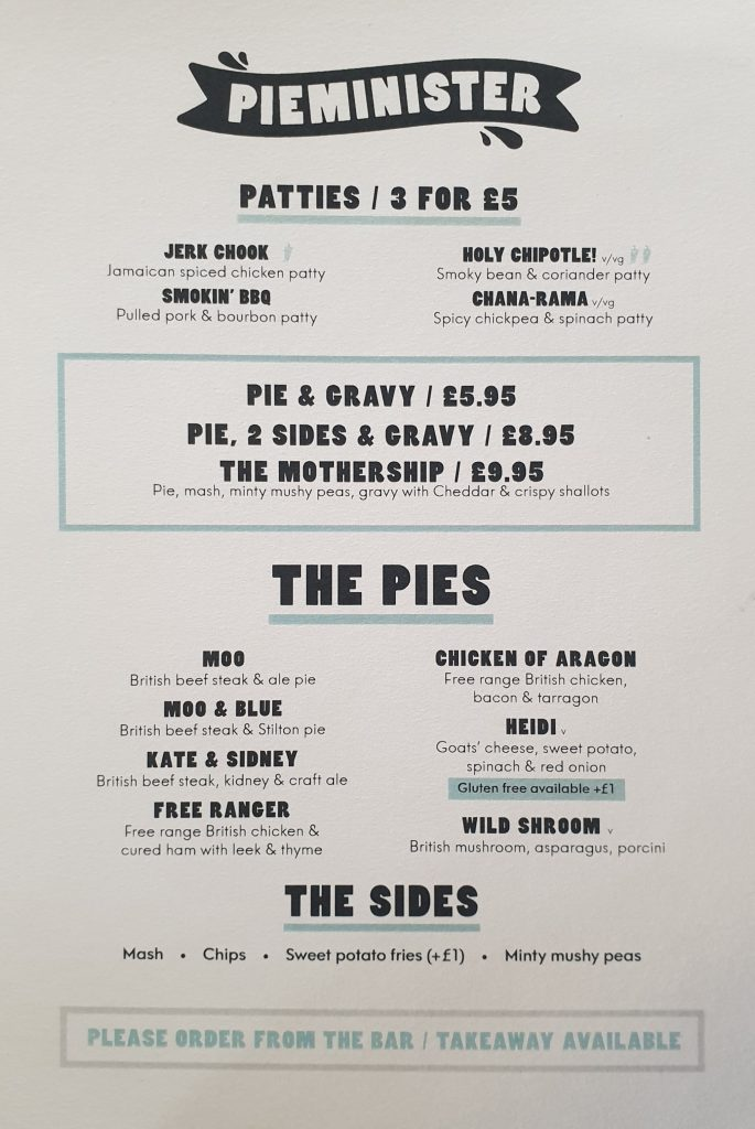Pieminster Menu at the Queens arms Hereford